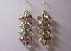 Czech Glass and Antique Brass Chain Earrings by RBAdornments, $11.00