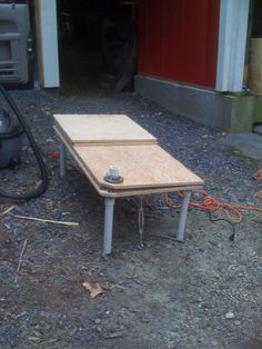 Super simple sleeping platform. I hate the pipe legs but this good for Hinges 101 and turnbuckle use for safety.