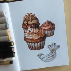 Задание 2: Свежайший шоколадный капкейк со сливочным кремом Объем сложной формы, работа со светотенью и оттачиванием детализации #экстримскетчинг2 от #kalachevaschool и @anna.rastorgueva