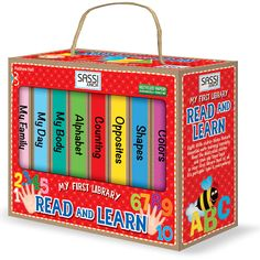 #Sassi Junior: My First Library - Read and Learn. 8 books with 10 coloured pages each. #eco-friendly #book #game