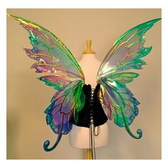 Delia 3 panel large fairy wings in your choice of colors ❤ liked on Polyvore featuring costumes, wings, costume, fairies, lullabies, other, fairy wing costume, rainbow costume, rainbow halloween costume and fairy halloween costumes