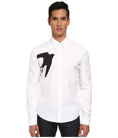McQ Single Swallow Classic Fitted Button Up Optic White - Zappos.com Free Shipping BOTH Ways