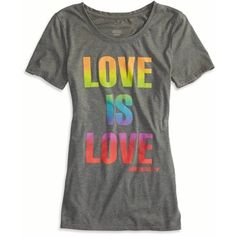AEO Pride Graphic T-Shirt ($15) ❤ liked on Polyvore featuring tops, t-shirts, ebony grey, long tops, grey t shirt, gray tee, grey top and graphic tees
