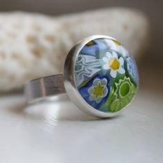 Murano Glass Ring Sterling Silver  Size 7 by LoreleyJewelry