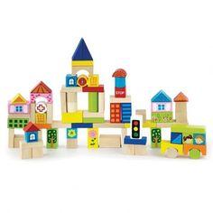 Un baril de cubes originaux Ce baril de cubes en bois contient 75 pièces en bois aux couleurs et formes très variées. De nombreuses pièces représentent