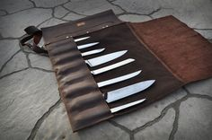 Chef Knife Roll / Westbrook Leather Knife Roll / Leather Knife