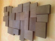 Creative composition with geometric pieces on wood types and contrasts of volume and finished in walnut color protected natural wax. The medium used is Wooden Wall Art, Wooden Signs, Wood Wall, Wood Mosaic, Mosaic Wall, Diy Wall Decor, Art Decor, Unique Lighting, Wood Slices