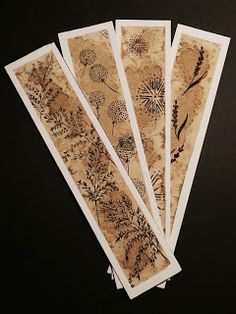 bookmark (23X5 cm) floral ornament coffe, salt, ink on watercolor paper