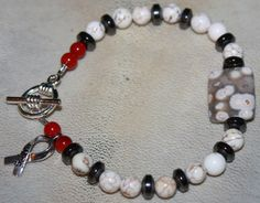 Diabetes Awareness Bracelet Red Coral Hematite by LetitBJewelry, $15.00