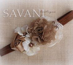 Mocha ivory shabby chic baby headband, pink flower headband, baby girl headband, newborn toddler headband