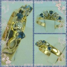 Art Deco 18K Sapphire and Diamond Eternity Ring, Wedding Band, Stacking Ring