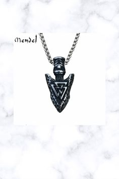 Stainless Steel Mens Norse Viking Arrowhead Valknut Pendant Men Necklace, Dog Tag Necklace, Pendant Necklace, Viking Series, Norse Vikings, Fantasy Jewelry, Celtic, Stainless Steel, Ebay