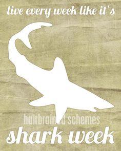 Shark Art Live Every Week Like it's Shark Week - Shark Week Funny Humorous Print - Charcoal Gray