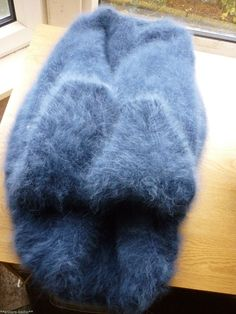 "FABULOUS Hand Knitted THICK Rabbit Fur Angora Sweater Dark Blue XL/XXL 48"" NEW in Clothes, Shoes & Accessories, Women's Clothing, Jumpers & Cardigans 