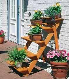 Rahmenholz »Blumentreppe gross« im Online Shop von Ackermann Versand #Garten #Sommer Shops, Planter Pots, Patio, Outdoor Decor, Diy, Home Decor, Products, Garden, Wood Stairs