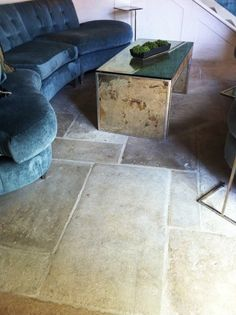 Antique Reclaimed French Blonde Barr limestone flooring eclectic floor tiles for entry and mud room