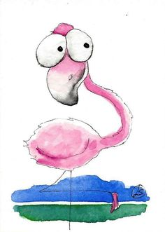 ACEO Original watercolor painting Lucia Stewart whimsical bird little flamingo #IllustrationArt