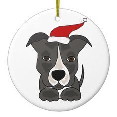 Funny Grey Pitbull in Santa Hat Christmas Art Christmas Tree Ornaments #Christmas #ornament #pitbull #dogs #funny And www.zazzle.com/petspower*