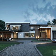 Modern Architecture House, Architecture Design, 3d Presentation, Buy My House, Modern Villa Design, House Front Design, Luxury Homes Dream Houses, Mansions Homes, Dream House Exterior