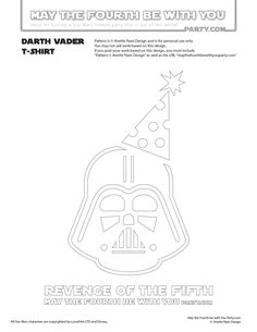 DIY Darth Vader Revenge of the Fifth T-shirt/Stencil Pattern. This and many other patterns can be downloaded FREE from our blog. / Note: Patterns are ©, and your work must include © if posted, and can not be sold. See blog for complete ©/ #darthvader #starwars #tshirt #starwarsparty #rogueone #maythefourthbewithyou #maythe4th #maythefourth #revengeofthefifth #starwarscostume #pattern #maythe4thbewithyou #stencil #silkscreen #silhouettecameo maythefourthbewithyoupartyblog.com