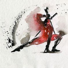 Superhero watercolors. (Deadpool)