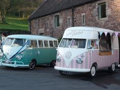 Florence meets another cute VW camper at a wedding.....♡ ice cream van hire & wedding hire http://www.pollys-parlour.co.uk/
