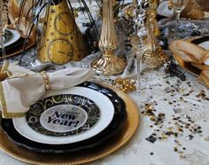 New Years Eve tablescape Black Tray, Diy Shows, Savvy Southern Style, New Year Celebration, Huckleberry, V60 Coffee, New Years Eve, Happy New Year, Tablescapes