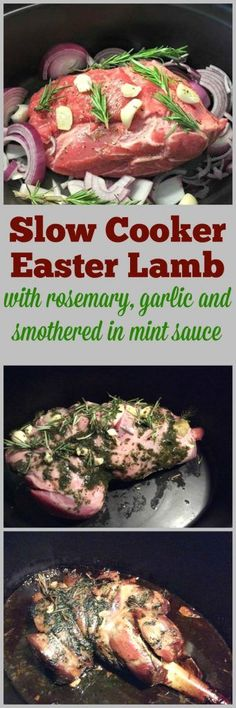 Slow cooker Easter lamb, with rosemary, garlic and smothered in mint sauce - make your Easter meal in your crockpot, it only takes minutes to prepare!