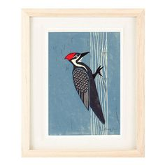 PILEATED WOODPECKER Poster Size Linocut Reproduction Art Print: 8 x 10, 11 x 14, 12 x 16 by annasee on Etsy https://www.etsy.com/listing/194226371/pileated-woodpecker-poster-size-linocut