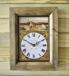 The Handmade Furniture Company Rustic Stag Handmade Wooden Wall Clock, £19.99