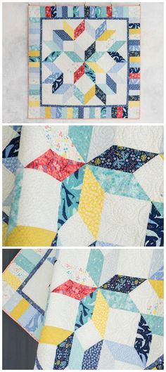 Carpenter Star High Seas Quilt Kitby Craftsy featuring Lily & Loom High Seas. The diamond illusion in this Carpenter's Star is created with fast and easy half-square triangles. Just one fat quarter bundle and a yard of background fabric creates the entire quilt top, including binding. Affiliate link.
