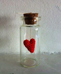 Message in a bottle, crochet red heart on gold thread , custom gift, Love on Etsy, 15,00 €