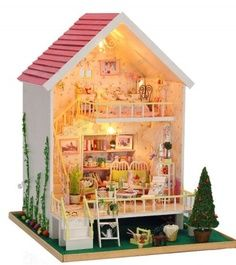 A great looking Miniature Dollhouse you can build for your children or as a gift.