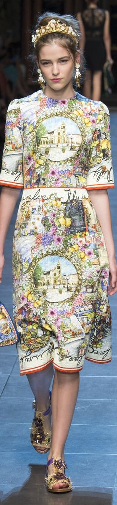This Dolce & Gabbana garment is an excellent example of space. The illustration on the dress is a piece of art, it makes you feel like you can walk right into it. It give the illusion of three dimensional space.