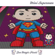Mini Superman inspired crochet blanket pattern by TwoMagicPixels Graph Crochet, Pixel Crochet, C2c Crochet, Manta Crochet, Crochet Blanket Patterns, Crochet Baby, Crochet Blankets, Superman Crochet, Corner To Corner Crochet