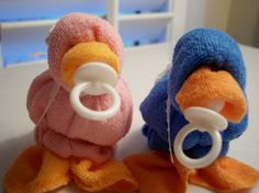 Baby Quackers Washcloth Ducks Hilariously Cute Blue or Pink  by Mollbelldesigns.etsy.com