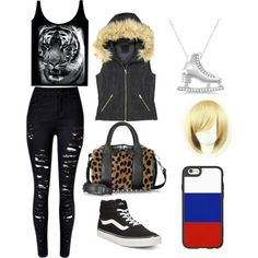 Fem! Yuri Plisetsky outfit by cleo-chan on Polyvore featuring mode, MDKN, Vans, Alexander Wang, Allurez and Casetify