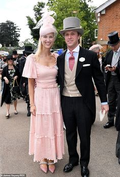 Lady Gabriella Windsor and husband Thomas Kingston pictured arriving at Royal Ascot for Ladies Day Windsor, Union Jack Dress, Royal Ascot Ladies Day, Red Frock, Prince Charles And Camilla, Striped Maxi Dresses, Orange Dress, Dress Codes, Queen Elizabeth
