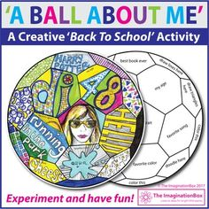'A Ball About Me', is a fun, first week back to school, All About Me creative art activity. This soccer ball template invites children to respond to prompts in a personal, imaginative way using doodles, mark making, graffiti style lettering and imagery. Instructions on the ball template include: