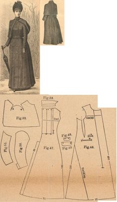 Der Bazar 1889: Brown English woollen raincape; 46. and 47. front and back parts, 48. and 49. pockets, 50. and 51. sleeve parts, 52. long collar, 53 rolled-collar