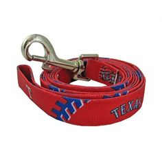 Texas Rangers Baseball Printed Dog Leash. Show support of your favorite team with this officially licensed MLB Texas Rangers Baseball Printed Dog Leash! The leash is six feet long and 3/4 inch wide and has a metal clip for easy access on and off. Full color logos. Matching collar is also available, sold separately!Important Sizing Note: The following measurements are the dimensions of the actual product, not of the pet they fit. After measuring your pet, make sure all measurements fit...