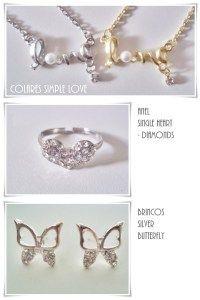Colar Simple Love / Anel Single Heart Diamonds / Brincos Silver Butterfly