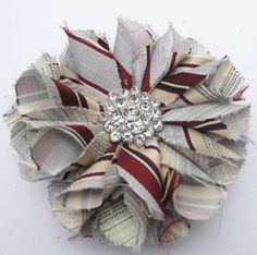 Recycled Vintage Necktie Fabric Flower Clip Pin - Silver and Burgundy Tie Crafts, Fabric Crafts, Sewing Crafts, Fabric Ribbon, Fabric Flowers, Paper Flowers, Make A Bow Tie, Old Ties, Neckties