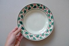 Vintage Christmas Plates Green & Red Motifs | made in Portugal