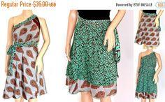 ONSALE Silk Sari Wrap Skirt/wrap skirt/ many ways to wear/beach skirt/Magic wrap skirt/Silk Art sari reversible boho hippi skirt - Last one (26.25 USD) by TopsyCurvyDesigns