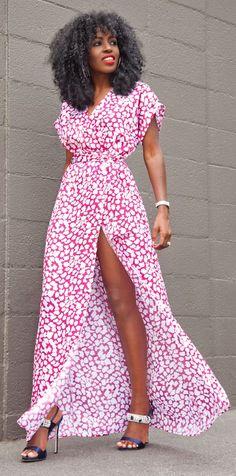 Faux Wrap High Split Maxi Dress by Style Pantry