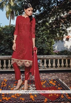 Resham Work Red Straight Cut Pant Style Salwar Suit