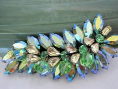 Vintage Vendome Signed Stunning Green AB Rhinestone Glass Crystal Brooch RARE