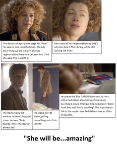 """Oh my gosh you guys I just realized that when Melody asked who River is, the Doctor says """"Spoilers"""" because he's remembering all those other times he met River, but that's the first time she meets him, so all those times she says """"spoilers"""" she's quoting him, and all those times he says """"spoilers"""" he's quoting her!!!! <-- Mind. Blown."""