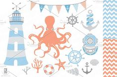 Nautical vector clip art, lighthouse by GrafikBoutique on @creativemarket